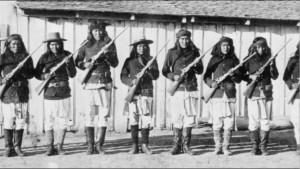 Apache scouts at Fort Wingate, New Mexico in the 1880s