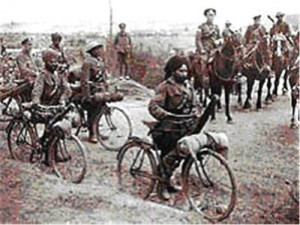 British Indian bike infantry WWI.  Photo Imperial War Museum