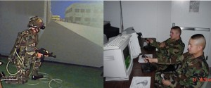 The Squad Synthetic Environment is comprised a fully immersed environment, which is also called stand up (at left) and desktop computer mode (right) Photo by Author