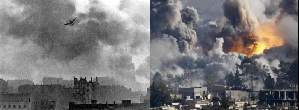 ,L – Warsaw Uprising August 1944 (PD-Polish), R – Syrian Civil War October 2015 (Reuters)