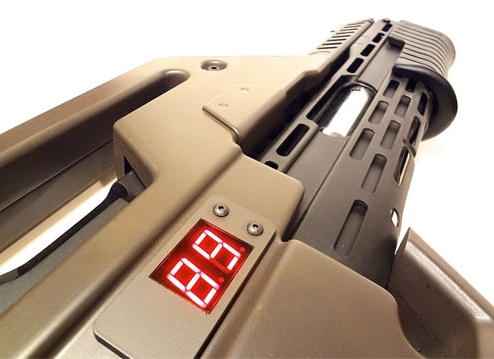 Fictional Portrayal of Shot Counter Tech, M41 Pulse Rifle from the movie Aliens. WeaponReplica.com
