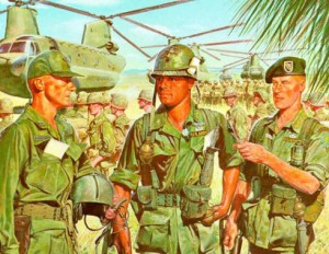 U.S. Army officers...jungle fatigues...Vietnam War.  US Army