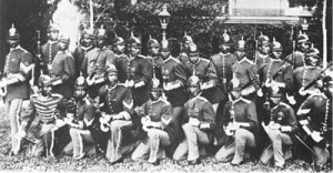 Company B of the 25th Infantry was stationed at Fort Snelling, Minnesota, from 1883-1888.  They pose here in their full dress uniforms. U.S. Army Signal Corps photo