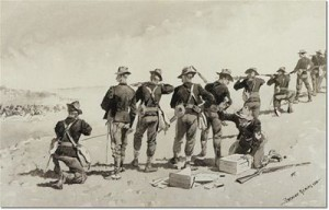 Covering the Cavalry's Withdrawl by Frederic Remington