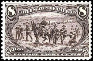 "US Postage Stamp of Remington's ""Protecting the Wagon Train"""