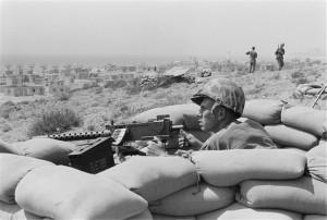 Marine machine gun emplacement.  Library of Congress